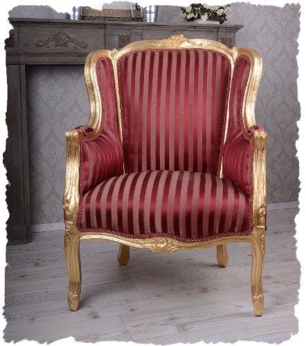 "Royal High Back Wing Chair Armchair Barocksessel, HOME24, Armchair Louis-Armlehnensessel """" Seize with royal atmosphere in the Rococo style in Red-Palazzo Exclusive"