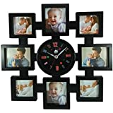 8 IN 1 COLLAGE WALL HANGING MULTI PHOTO FRAME WITH CLOCK [Size: 400 X 400 Mm]-BLACK