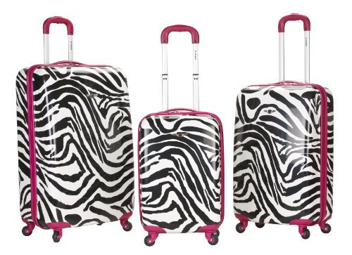 Rockland Luggage 3 Piece Upright Set, Pink Zebra, Medium top deals