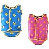 baby toddler girl boy swimming neoprene wrap wetsuit swimsuit swimwear 0-6 6-12 12-24 months (XS 0-6 MONTHS, FUSHIA PINK)