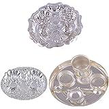 "GS MUSEUM Silver Plated Rani Kumkum Plate, Silver Plated Oval Kumkum Plate And Silver Plated 6"" Pooja Plate"
