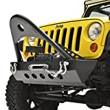 E-Autogrilles Jeep Wrangler JK Textured Black Rock Crawler Front Bumper with Stinger