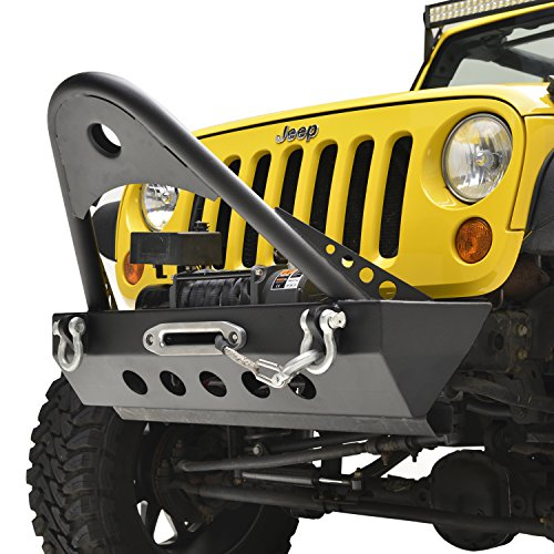 E-Autogrilles Jeep Wrangler JK Textured Black Rock Crawler Front Bumper with Stinger
