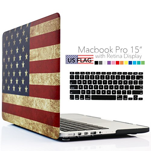 iBenzer - 2 in 1 Soft-Touch Series Plastic Hard Case Cover & Keyboard Coverfor 15 inches Macbook Pro 15.6'' with Retina display (Model: A1398 ), US Flag MMP15R-USFL+1