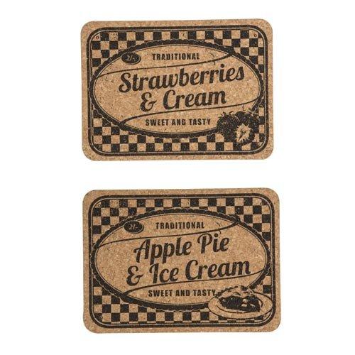 Lot de 2sets de table en liège-Fraises et crème/Apple Pie & glace Crème