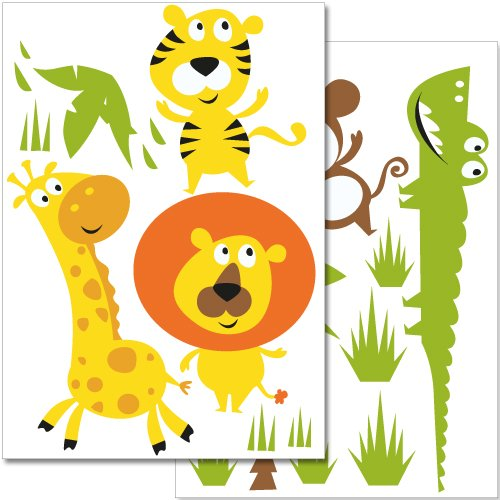 Wandkings wall stickers Colourful Jungle Animals Sticker Set - 28 stickers on 2 US letter sheets (each 8.3 x 11.7 inch)