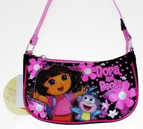 Nickelodeon Dora The Explorer Purse Handbag – Featuring Dora the Explorer and Boots; Great Gift Idea For Girls (Kids and Children's Tote Hand Bag)