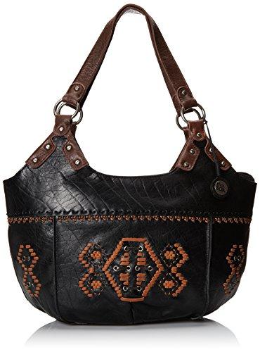 The SAK Indio Satchel Top Handle Bag,Black Lacing,One Size