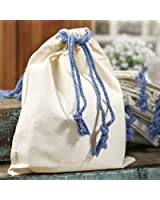 Package of 10 Light Cotton and Muslin Bags with Blue Rope Handles for Favors, Crafting and Creating