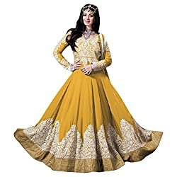 Yes Fashions Women's Party wear Yellow Art Silk+Georgette Semi Stitched Salwar Suit