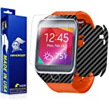 ArmorSuit MilitaryShield - Samsung Galaxy Gear 2 Screen Protector + Black Carbon Fiber Full Body Skin Protector / Front Anti-Bubble Ultra HD - Extreme Clarity & Touch Responsive Shield with Lifetime Free Replacements - Retail Packaging
