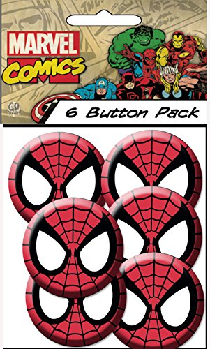 "C&D Visionary Spiderman Spidy Mask 1.25"" Button (6-Piece)"