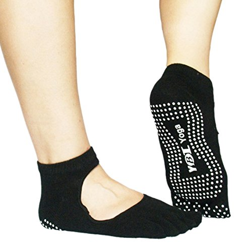 PANEGY Unisex Cotton Peep-toe Yoga socks Non-slip Half Toe Ankle Grip Socks - Black Gymnastics Socks