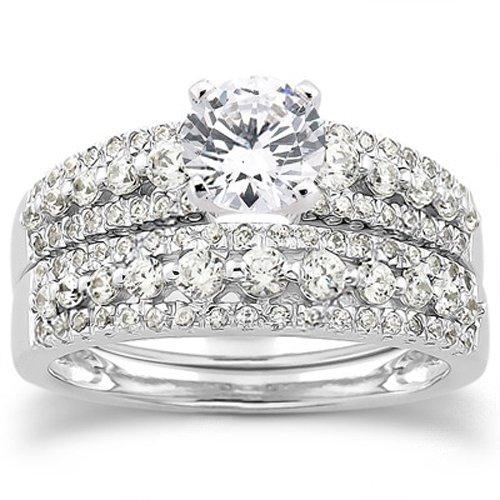 ... Real Diamond Pave Vintage Engagement Petite Wedding Matching Ring Set