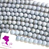 Fashiontrenda Natural Color Blue Angelite Round Gemstones Beads for DIY Jewelry Making (6mm)