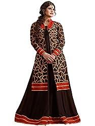 Orange Fab Brown Heavy Georgette Abaya Style Anarkali With Koti Dress Material