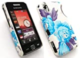 EMARTBUY SAMSUNG S5230 TOCCO LITE TEXTURED BLOSSOMED BLUE CLIP ON PROTECTION CASE/COVER/SKIN + SCREEN PROTECTOR