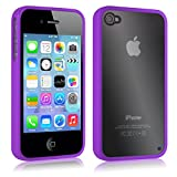 Tigerbox® Ultra Thin Clear Hard Crystal Back Case Cover With Soft Gel Bumper Edge For Apple iPhone 4 / 4s Screen Protector Included - Purple