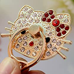 ZA eShop Universal 360 degree rotation cell phone holder Rhinestone Ring Holder For iPhone 5S 6S SE iPad for Samsung Hello Kitty Red