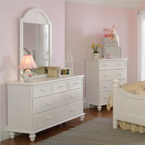 Hillsdale Westfield Double Dresser and Mirror Set in Off-White Finish