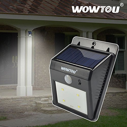Wowtou(R) Battery Upgraded Unique Winter Snow Protection Bright Led Outdoor Waterproof Heatproof Wireless Solar Panel Powered Security Garage Corner Led Motion Sensor Nightlight Light