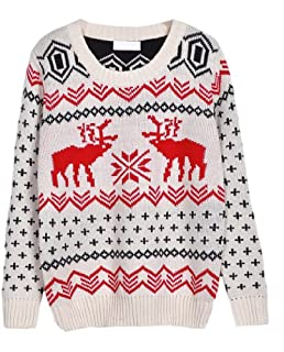 CHRISTMAS Sweater / Cardigan, with Various Lovely Patterns of Reindeer / Snowman / Snowflakes / Tree (L, Deer&Snowflake-White)
