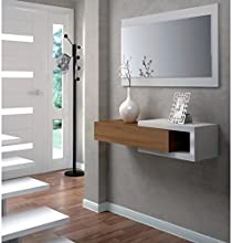 Comprar Habitdesign (0N6743BO) - Recibidor con cajón + espejo, color blanco brillo y nogal