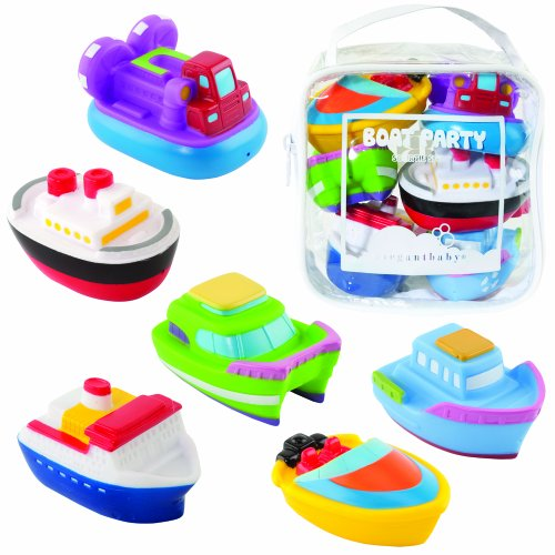 Elegant Baby 6 Piece Bath Squirties Gift Set in Vinyl Zip Bag, Boats