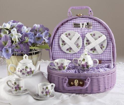 Large Dollies Tea Set/ Basket, Purple Violets