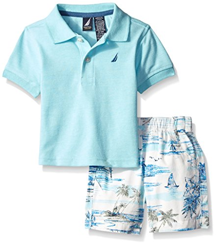 Nautica Baby Boys' 2 Piece Polo and Printed Island Short Set, Light Turquoise, 0-3 Months