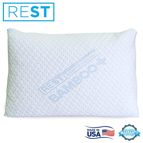 Blended Memory Foam Pillow With Super Soft Rayon Cover Derived From Bamboo, By REST. Made In The USA! Measures 20