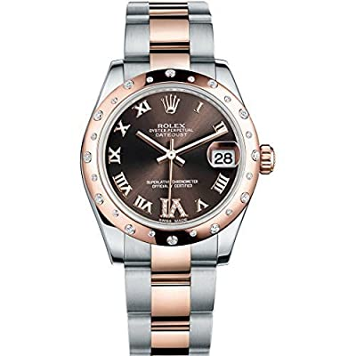 Rolex Datejust 31mm Steel And Everose Gold Watch With 24 Diamonds Bezel Chocolate Diamond Dial Unworn 178341