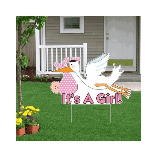 """ Die Cut Stork, Baby Announcement Yard Sign (Light Skin Toned Baby"