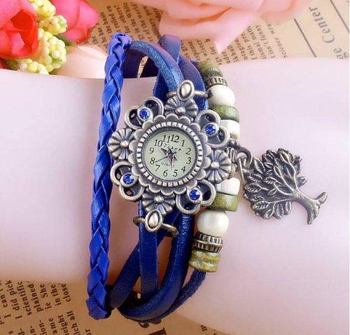 Kano Bak(Tm) Vintage Bronze The Tree Of Life Retro Wrap Around Weave Woman Lady Unisex Gift Leather Watch Bracelet Wrist Watch Blue