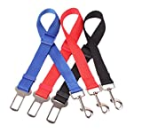 Pepy 3 pcs with 3 Assorted Colors Adjustable Pet Dog Car Automotive Seat Safety belt,Made from durable Nylon Fabric (3 pcs with 3 assorted colors) (3 pcs with 3 assorted colors)