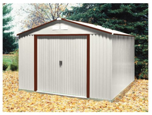 DuraMax Model 50431 10×10 Colossus Metal Shed, brown trim