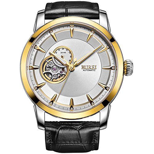 BUREI Men's Skeleton Automatic Wrist Watches with Gold Bezel White Dial Black Leather