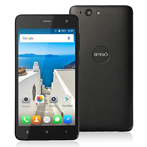 IPRO WAVE 5.0, Quad Core 5 Inches Android 5.1 Smartphone MTK6580M Dual SIM Celular 512M RAM 8GB ROM Unlocked Cell Phone International Version with No Warranty (Black) (Celular Android Quad Core compare prices)