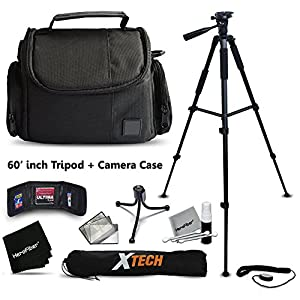 """Premium Well Padded Camera CASE / BAG and Full Size 60"""" inch TRIPOD Accessories KIT for Samsung NX500, NX1, NX3000, WB2200F, WB1100F, NX30, NX, NX2000, NX1100, NX300, NX300M, EX2F Digital Cameras"""