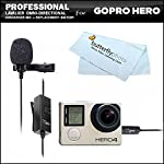 Professional lavalier (lapel) omni directional condenser microphone 20 foot audio cable adapter for GoPro HD Hero, Hero3, Hero Plus, GoPro HERO4 Silver, GoPro HERO4 Black Action camera from ButterflyPhoto