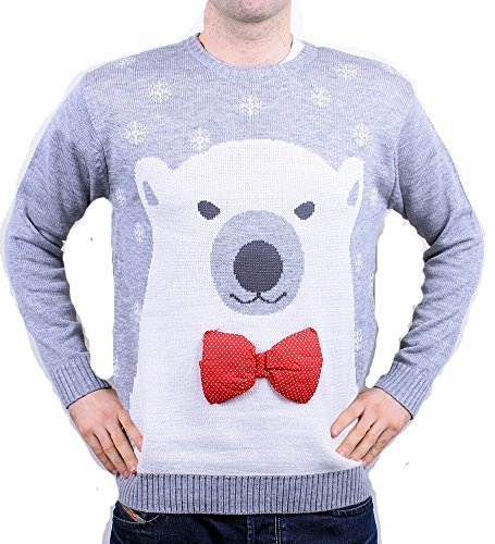Weihnachtspullover Weihnachten Herren Damen Unisex Eisbär Grau – S bis XXL