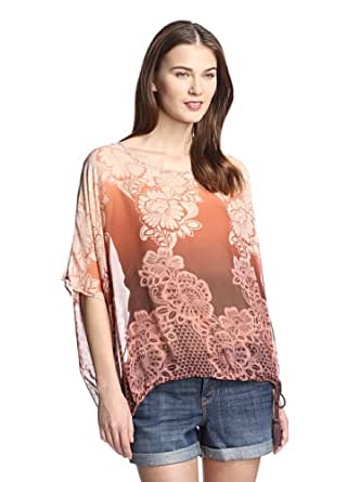 DA-NANG Women's Red Brown Vintage Lace Blouson Top, M at Amazon Women