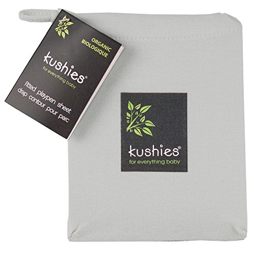 Kushies Baby Organic Jersey Play Pen Fitted Sheet, Grey