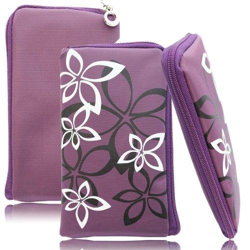 Flower Case in Lila für Samsung GT-S7580 Galaxy Trend Plus Handytasche Reissverschluss Etui Schutz Hülle Handy Tasche Holster Schutzhülle Schutz Cover Blumen Design