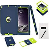 iPad Air Case, iPad 5 Case,MAKEIT 3in 1 Heavy Duty Protection Combo Hybrid Impact Silicone Hard Case Cover for Apple Ipad Air/Ipad 5 (Purplish Blue/Fluorescence Green)