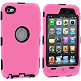 Light Pink 3-Piece Deluxe Hybrid Premium Rugged Hard Soft Case Skin Cover for iPod Touch 4th Generation 4G 4
