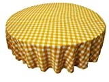LA Linen Poly Checkered Round Tablecloth, 72-Inch, Dark yellow/White