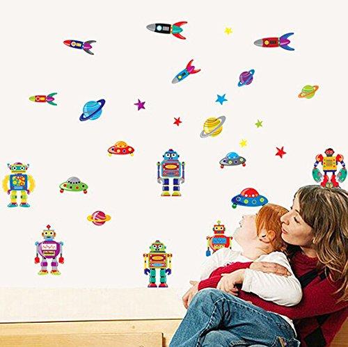Wallpark Boys Cartoon Robots Rocket Flying Saucer Removable Wall Sticker Decal, Children Kids Baby Home Room Nursery DIY Decorative Adhesive Art Wall Mural