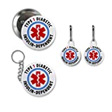 TYPE 1 DIABETIC Insulin Dependent Medical Alert Button White Zipper Pull Charms Key Chain