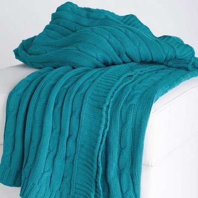 Rizzy Home Cable Knit Sweater Fabric Throw, Turquoise/Turquoise